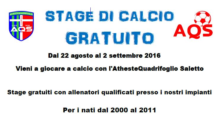 Stage Estivi dal 22 Agosto al 2 Settembre 2016